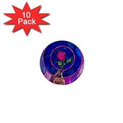 Enchanted Rose Stained Glass 1  Mini Magnet (10 Pack)  by Onesevenart