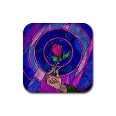 Enchanted Rose Stained Glass Rubber Coaster (square)  by Onesevenart