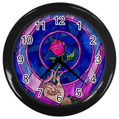 Enchanted Rose Stained Glass Wall Clocks (black) by Onesevenart