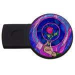 Enchanted Rose Stained Glass USB Flash Drive Round (2 GB)
