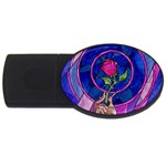 Enchanted Rose Stained Glass USB Flash Drive Oval (4 GB)