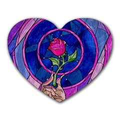 Enchanted Rose Stained Glass Heart Mousepads by Onesevenart