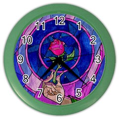 Enchanted Rose Stained Glass Color Wall Clocks by Onesevenart