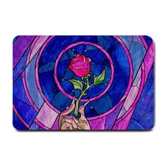 Enchanted Rose Stained Glass Small Doormat  by Onesevenart
