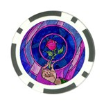 Enchanted Rose Stained Glass Poker Chip Card Guard