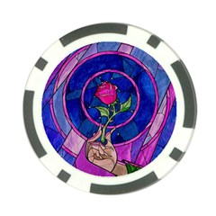 Enchanted Rose Stained Glass Poker Chip Card Guard (10 Pack) by Onesevenart