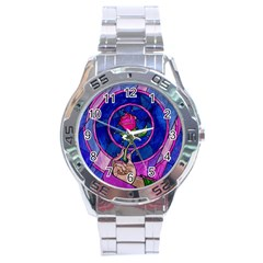 Enchanted Rose Stained Glass Stainless Steel Analogue Watch by Onesevenart