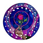 Enchanted Rose Stained Glass Ornament (Round Filigree)