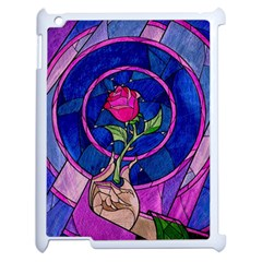 Enchanted Rose Stained Glass Apple Ipad 2 Case (white) by Onesevenart