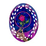 Enchanted Rose Stained Glass Oval Filigree Ornament (Two Sides)