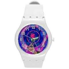 Enchanted Rose Stained Glass Round Plastic Sport Watch (m) by Onesevenart