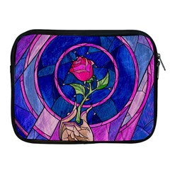 Enchanted Rose Stained Glass Apple Ipad 2/3/4 Zipper Cases by Onesevenart