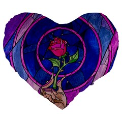 Enchanted Rose Stained Glass Large 19  Premium Flano Heart Shape Cushions by Onesevenart