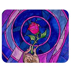 Enchanted Rose Stained Glass Double Sided Flano Blanket (medium)  by Onesevenart