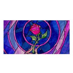 Enchanted Rose Stained Glass Satin Shawl by Onesevenart
