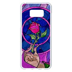 Enchanted Rose Stained Glass Samsung Galaxy S8 Plus White Seamless Case by Onesevenart
