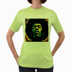 Gabz Jimi Hendrix Voodoo Child Poster Release From Dark Hall Mansion Women s Green T Shirt by Onesevenart