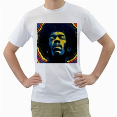 Gabz Jimi Hendrix Voodoo Child Poster Release From Dark Hall Mansion Men s T Shirt (white) (two Sided) by Onesevenart
