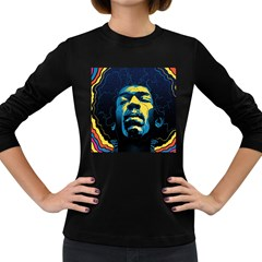 Gabz Jimi Hendrix Voodoo Child Poster Release From Dark Hall Mansion Women s Long Sleeve Dark T Shirts by Onesevenart