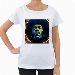 Gabz Jimi Hendrix Voodoo Child Poster Release From Dark Hall Mansion Women s Loose Fit T Shirt (white) by Onesevenart