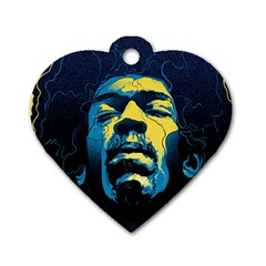 Gabz Jimi Hendrix Voodoo Child Poster Release From Dark Hall Mansion Dog Tag Heart (two Sides) by Onesevenart