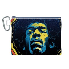 Gabz Jimi Hendrix Voodoo Child Poster Release From Dark Hall Mansion Canvas Cosmetic Bag (l) by Onesevenart
