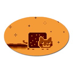 Nyan Cat Vintage Oval Magnet by Onesevenart