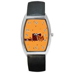 Nyan Cat Vintage Barrel Style Metal Watch by Onesevenart