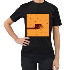 Nyan Cat Vintage Women s T Shirt (black) (two Sided) by Onesevenart