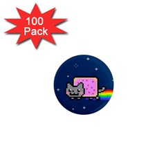 Nyan Cat 1  Mini Magnets (100 Pack)  by Onesevenart