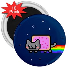 Nyan Cat 3  Magnets (10 Pack)  by Onesevenart
