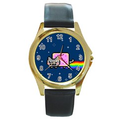 Nyan Cat Round Gold Metal Watch by Onesevenart