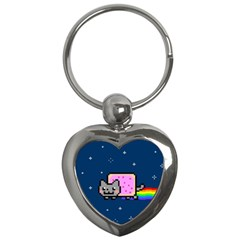 Nyan Cat Key Chains (heart)  by Onesevenart