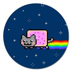 Nyan Cat Magnet 5  (round) by Onesevenart