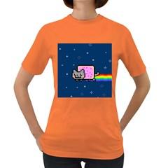 Nyan Cat Women s Dark T Shirt by Onesevenart