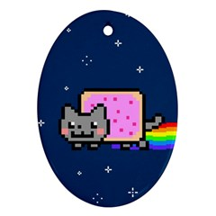 Nyan Cat Oval Ornament (two Sides) by Onesevenart