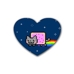 Nyan Cat Heart Coaster (4 Pack)  by Onesevenart