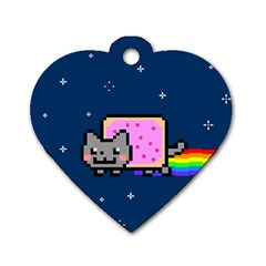 Nyan Cat Dog Tag Heart (one Side) by Onesevenart
