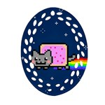 Nyan Cat Oval Filigree Ornament (Two Sides)