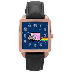 Nyan Cat Rose Gold Leather Watch  by Onesevenart