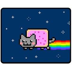 Nyan Cat Double Sided Fleece Blanket (medium)  by Onesevenart