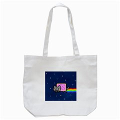 Nyan Cat Tote Bag (white) by Onesevenart