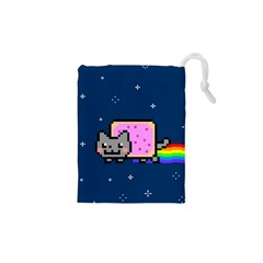 Nyan Cat Drawstring Pouches (xs)  by Onesevenart