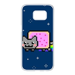Nyan Cat Samsung Galaxy S7 Edge White Seamless Case by Onesevenart