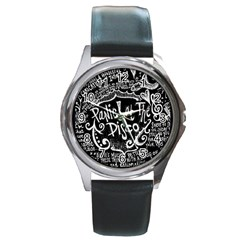Panic ! At The Disco Lyric Quotes Round Metal Watch by Onesevenart