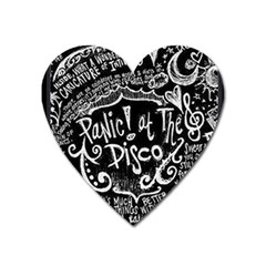Panic ! At The Disco Lyric Quotes Heart Magnet by Onesevenart
