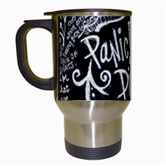 Panic ! At The Disco Lyric Quotes Travel Mugs (white) by Onesevenart