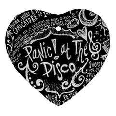 Panic ! At The Disco Lyric Quotes Heart Ornament (two Sides) by Onesevenart