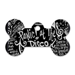 Panic ! At The Disco Lyric Quotes Dog Tag Bone (two Sides) by Onesevenart