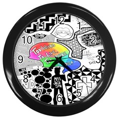 Panic ! At The Disco Wall Clocks (black) by Onesevenart